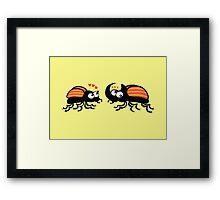 Couple of rhinoceros beetles shyly falling in love Framed Print