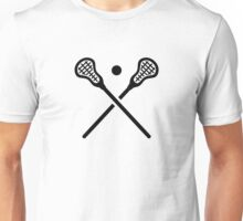 Crossed lacrosse sticks ball Unisex T-Shirt