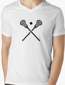Crossed lacrosse sticks ball Mens V-Neck T-Shirt