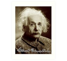 Albert, Einstein, Portrait, signature, Physicist, Genius, mathematician Art Print