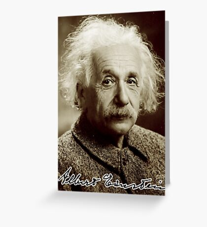 Albert, Einstein, Portrait, signature, Physicist, Genius, mathematician Greeting Card