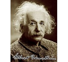 Albert, Einstein, Portrait, signature, Physicist, Genius, mathematician Photographic Print