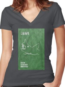 Jaws Movie Poster Design Women's Fitted V-Neck T-Shirt