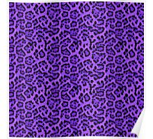 Faux Fur Fabric Purple Black Poster