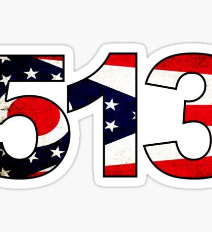 CINCINNATI OHIO 513 AREA CODE FLAG GRUNGE MIDDLETOWN OXFORD HAMILTON Sticker