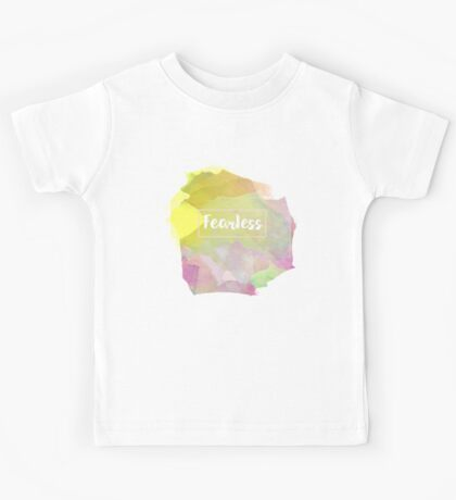 Fearless Motivation Quote Mantra Mauve Rose Watercolor Kids Tee