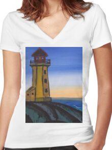 lighthouse design Women's Fitted V-Neck T-Shirt