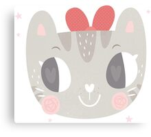 Girls Kitty Face Design 2 Canvas Print