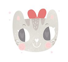Girls Kitty Face Design 2 by Claire Stamper