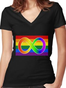 neuroqueer - rainbow overload Women's Fitted V-Neck T-Shirt