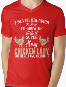 crazy chicken t-shirt Mens V-Neck T-Shirt