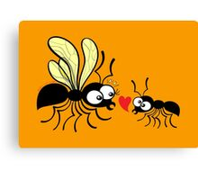 Shy worker ant declaring its love to the queen ant Canvas Print