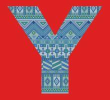 Letter Y Blue Aztec Stripes Pattern Boho Monogram Initial Kids Tee