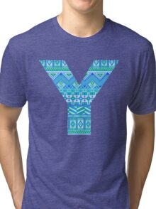 Letter Y Blue Aztec Stripes Pattern Boho Monogram Initial Tri-blend T-Shirt