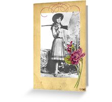 Vintage Annie Oakley Rose American Cowgirl Greeting Card