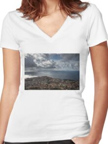 Drama in the Sky of Naples Women's Fitted V-Neck T-Shirt