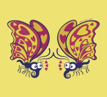 Couple of beautiful butterflies madly falling in love Kids Tee