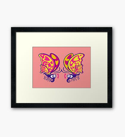 Couple of beautiful butterflies madly falling in love Framed Print