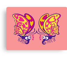 Couple of beautiful butterflies madly falling in love Canvas Print