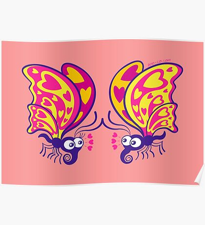 Couple of beautiful butterflies madly falling in love Poster