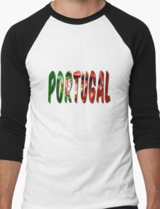 Portugal Word With Flag Texture Men's Baseball ¾ T-Shirt