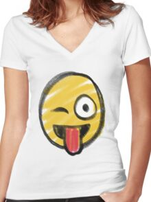 joking Face Women's Fitted V-Neck T-Shirt
