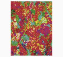 """ABSTRACT FLOWER GARDEN"" Painting Print One Piece - Short Sleeve"
