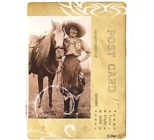 Pretty Vintage Cowgirl Postcard Western Horse   Photographic Print