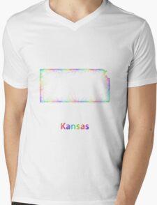 Rainbow Kansas map Mens V-Neck T-Shirt