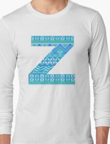 Letter Z Blue Aztec Stripes Pattern Boho Monogram Initial Long Sleeve T-Shirt