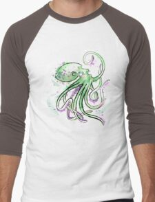 Green Splotchtopus  Men's Baseball ¾ T-Shirt