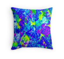 """PSYCHEDELIC FLOWER GARDEN"" Abstract Painting Print Throw Pillow"