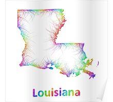 Rainbow Louisiana map Poster