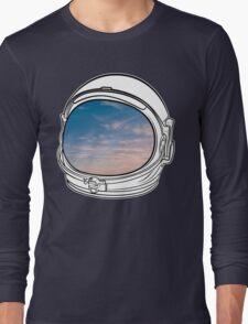 Blue Sky on the Moon on black  Long Sleeve T-Shirt