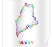 Rainbow Maine map Poster