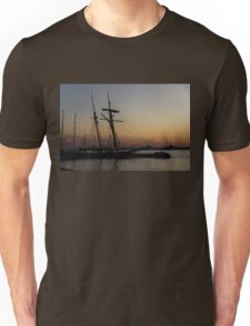 Climbing the Rigging - Sailors Silhouettes at the Hudson River Waterfront, New York City Unisex T-Shirt