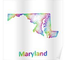 Rainbow Maryland map Poster