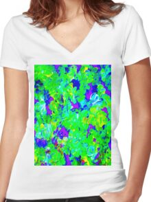 """""""FLOWER GARDEN ART DECO"""" Abstract Painting Print Women's Fitted V-Neck T-Shirt"""