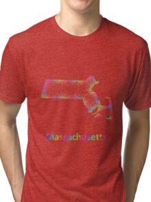 Rainbow Massachusetts map Tri-blend T-Shirt