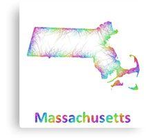 Rainbow Massachusetts map Canvas Print
