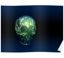 Glowing Glass Real Human Skull Poster