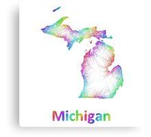 Rainbow Michigan map Canvas Print