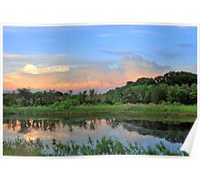 Waterscape With Sunset Clouds Poster