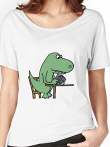 Funny T-Rex Dinosaur Playing Cards  Women's Relaxed Fit T-Shirt