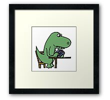 Funny T-Rex Dinosaur Playing Cards  Framed Print