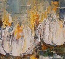 White waterlillies oil on canvas 30x25 cm Sticker