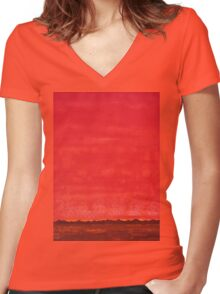 Sky High original painting Women's Fitted V-Neck T-Shirt
