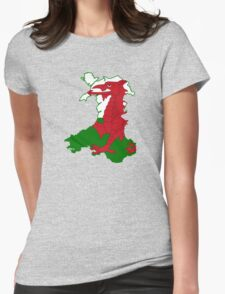 Flag Map of Wales  Womens Fitted T-Shirt