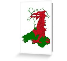 Flag Map of Wales  Greeting Card