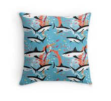 Graphic pattern of swimming sharks Throw Pillow